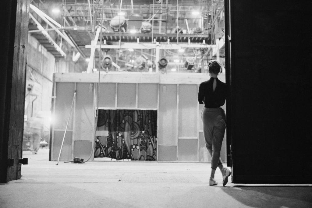 "Audrey Hepburn behind the scenes of ""Sabrina"""